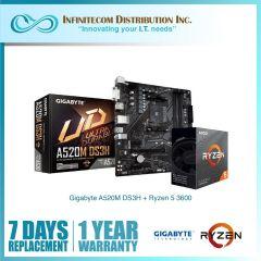 * Gigabyte GA-A520M-DS3H + Ryzen 5 3600 CPU